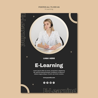 Online learning poster template with photo