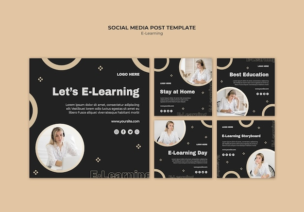 Online learning social media posts template