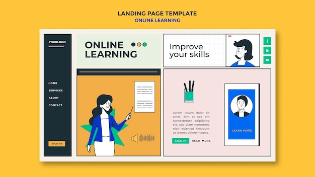 Online learning template landing page
