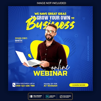 Online live webinar social media post or square banner template