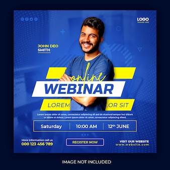 Online live webinar social media post square template
