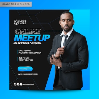 Online meetup social media flyer template