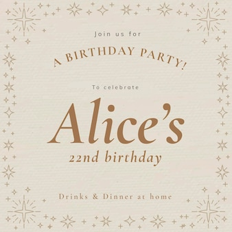 オンラインパーティの招待状のテンプレートpsdの誕生日のお祝い