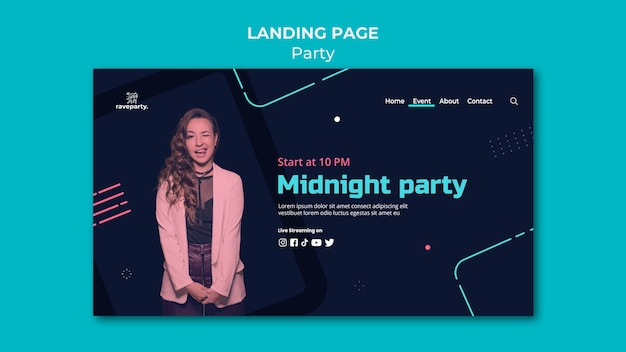 Online party landing page template