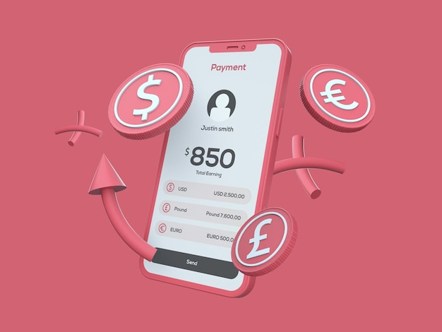 Online payment gateway clay mobile phone mockup