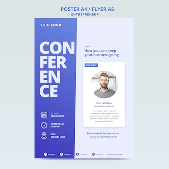 Online poster template for business conference
