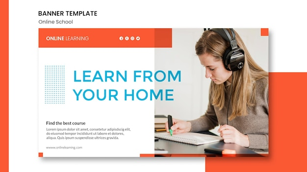 Online school banner template style