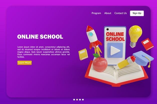 3d 렌더링 개체 모형으로 온라인 학교 그림