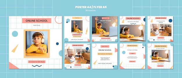 Online school instagram post templates