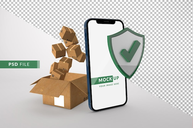 Online security and delivery with smartphone mockup with delivery package