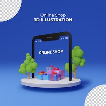 Интернет-магазин приложение с подарочной коробкой 3d-рендеринг