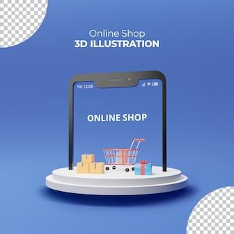 Интернет-магазин иллюстрация 3d-рендеринга подарочная коробка и тележка на синем фоне