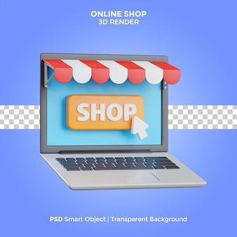 Online shop laptop 3d render illustration isolated premium psd