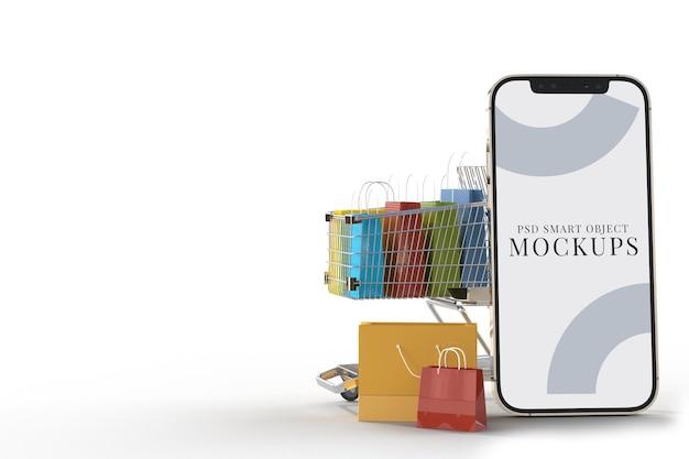 Интернет-магазин с шаблоном макетов смартфонов и элементами покупок. разрабатывает концептуальный маркетинг в интернете с обтравочным контуром. 3d рендеринг