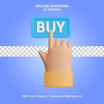 Online shopping 3d render illustration isolated premium psd