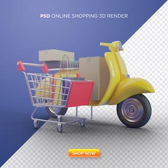 スマートフォンショップのイラストを使用したオンラインショッピングの3dレンダリング