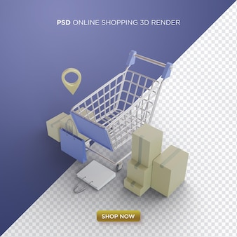 Online shopping 3d render with realistic cart and cardboard