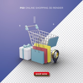 Online shopping 3d render with shopping cart gift box and shopping bag