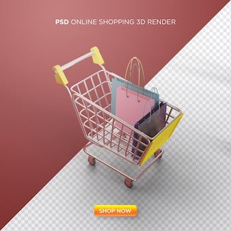Online shopping 3d render with shopping cart and shopping bag