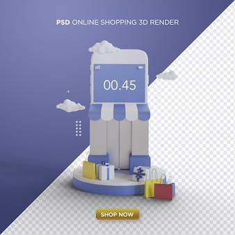 Online shopping 3d render with smartphone shop on blue background