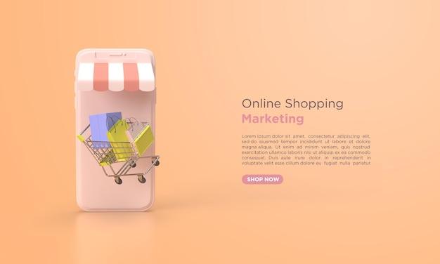 オンラインショッピング3dレンダリングマーケティング