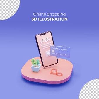 모바일 및 신용 카드를 사용한 온라인 쇼핑 3d 렌더링