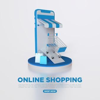 3d-рендеринг онлайн-покупок с мобильным телефоном и сумкой для покупок в социальных сетях