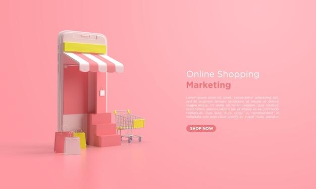 モバイルとショッピングカートを使用したオンラインショッピングの3dレンダリング