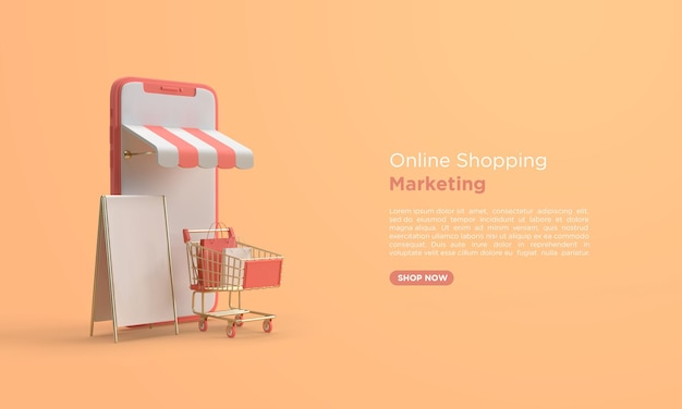 Online shopping 3d rendering with mobile and shopping cart