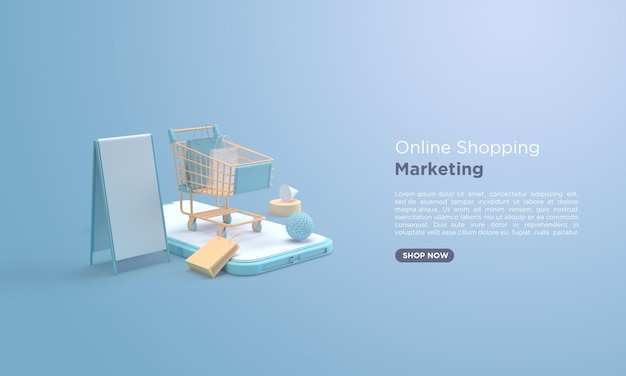 Online shopping 3d rendering with shopping cart on mobile