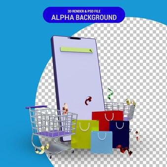스마트폰 쇼핑 카트와 종이 봉지 투명 배경을 사용한 온라인 쇼핑 3d 렌더링