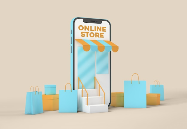 Online shopping by smart phone mockup Premium Psd