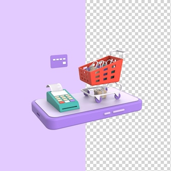 전화 결제 단말기와 신용 카드 3d 렌더 모델 개념이 있는 바퀴 달린 온라인 쇼핑 카트