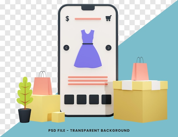 온라인 쇼핑 개념 3d 렌더링 절연