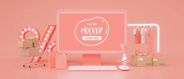 Online shopping concept, computer monitor with mock-up screen and online store on pink background, 3d rendering, 3d illustration