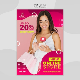 Online shopping concept poster template