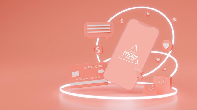 Online shopping concept, smartphone with mock-up screen surrounded by characters on pink background, 3d rendering, 3d illustration