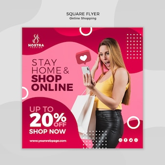 Online shopping concept square flyer template