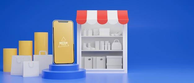 スマートフォン、ショップ、バッグを使ったオンラインショッピングのコンセプト