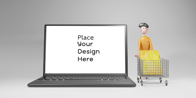 Online shopping and and delivery concept rendering design isolated