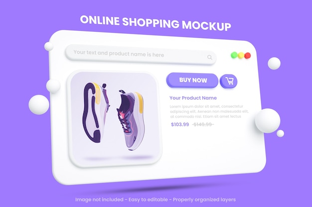 分離されたオンラインショッピングのeコマースモックアップ