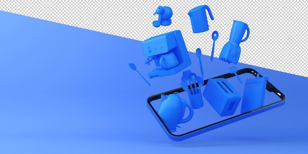 オンラインショッピング厨房機器モバイルアプリケーション3dレンダリング