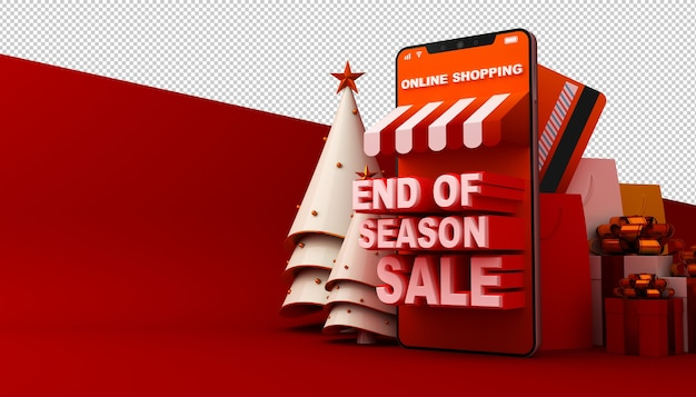 Online shopping mobile application in 3d rendering
