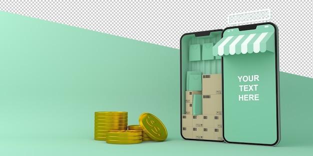 オンラインショッピングモバイルアプリケーションの3dレンダリング