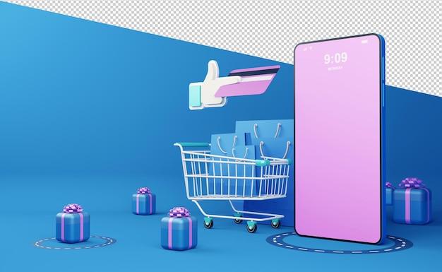 온라인 쇼핑 모바일 애플리케이션 3d 렌더링