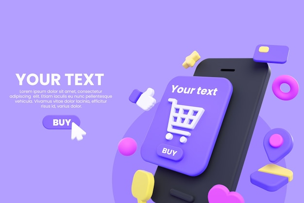 Online shopping mobile or e-commerce mockup isolated