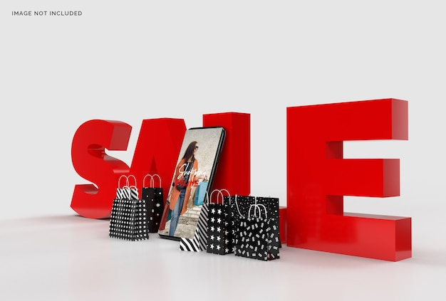 Online shopping mockup business concept marketing