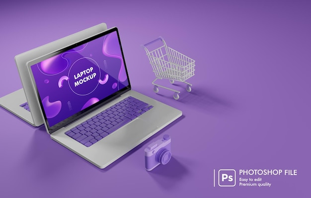 Online shopping object around laptop 3d rendering