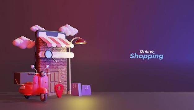 밤에 스쿠터 3d 렌더링 모바일 그림에 온라인 쇼핑
