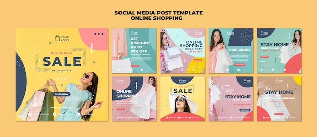 Online shopping social media post template